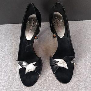Vintage black and silver leaf sandal heel sz 8N
